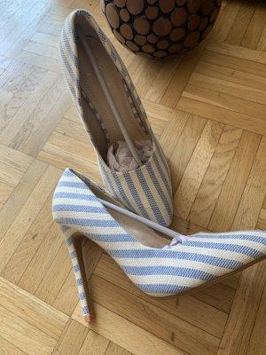 Damen Stiletto Pumps - White/Blue - Größe 37 - Gestreift