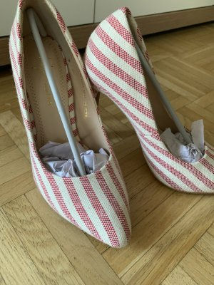 Damen Stiletto Pumps - White/Red - Größe 38 - Gestreift