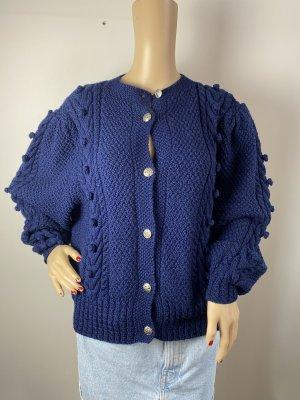 Cardigan en crochet bleu tissu mixte