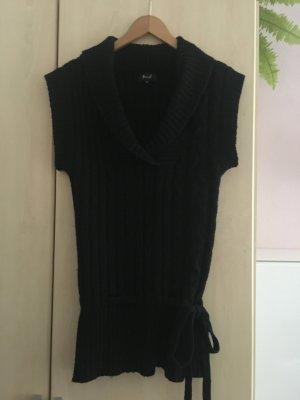 Miss H. Długi sweter bez rękawów czarny Wełna