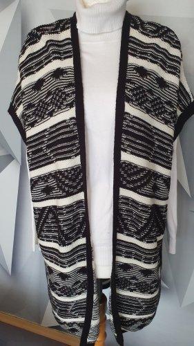 Athmosphere Gilet long tricoté blanc-noir