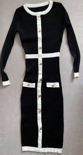 Robe pull noir-blanc tissu mixte