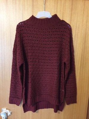 Damen Strickpullover Pullover Grobstrick Beere Gr. L / XL