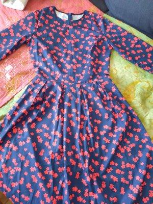 Damen Swing Midi Kleid Rockabilly Langarm Blau/Rot 36