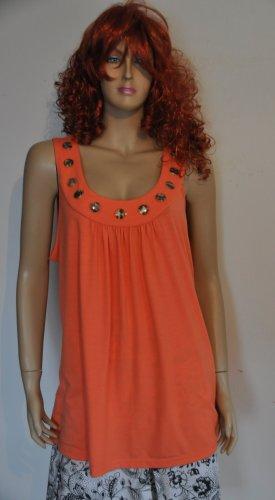 Bon Prix Długa koszulka pomarańczowy neonowy Elastan