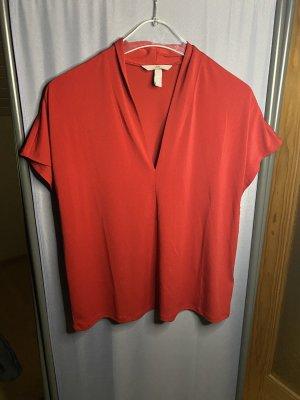 H&M V-Neck Shirt red-dark red