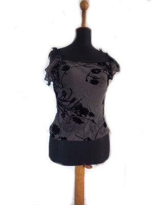 Damen T-Shirt H&M halbtransparent Gr. 38/ 40 gebraucht oliv Samt beflockt Blüten