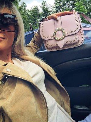 ⋙•-•-•-•➤Damen Tasche Handtasche Rosa mit Nieten Perlen Schmuck Gold Blogger Tasche Umhängetasche BLING BLING Strass Schmuck Shopper Henkeltasche Blogger Abendtasche im Sale  Neu m. Etikett ◉
