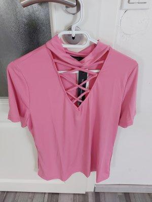 Damen Top Bluse Oberteil Tshirt in Rosa mit Halsdatails gr.M L
