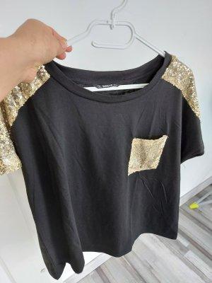 Damen Top Bluse Oberteil Tshirt in Schwarz mit Pailletten gr.ML