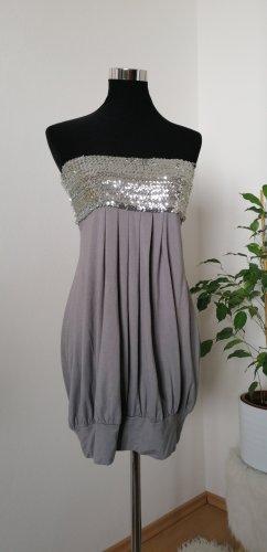 Melrose Bandeau Dress silver-colored-light grey