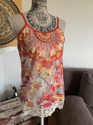 Damen Top/Shirt - Tropical - Spitze - Größe S/M 34/36 - White/Color