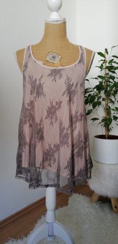 H&M Top o kroju litery A szaro-brązowy-różany
