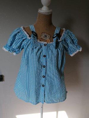 original ALPHORN Blusa tradizionale bianco-azzurro