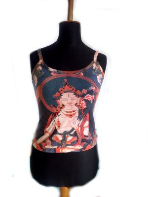 Damen Trägershirt Buddha Gr. S gebraucht Second Hand bedruckt Yoga Joggen