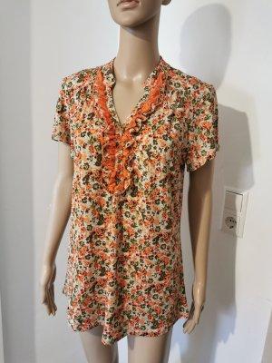Damen Tunika Bluse True Vintage seidig geblümt mit Rüschen Größe 38