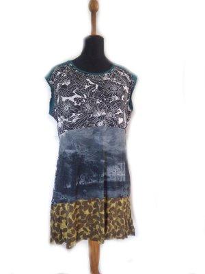 Damen Tunika Shirt Mustermix Petrol oliv grau Gr. 44/46 loose fit gebraucht