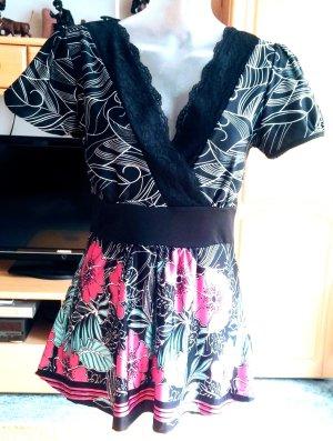Bonprix Tuniekjurk zwart-framboosrood Polyester