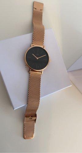 Zegarek z metalowym paskiem czarny-nude
