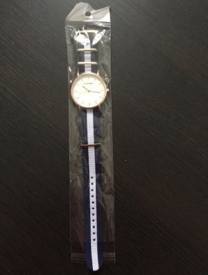 Orologio analogico blu-bianco