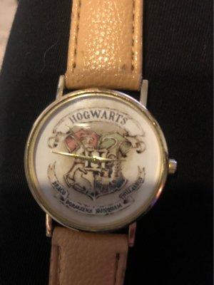 Horloge met lederen riempje goud-zandig bruin