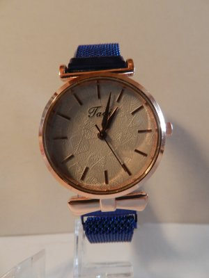 Silvity Watch With Metal Strap rose-gold-coloured-blue