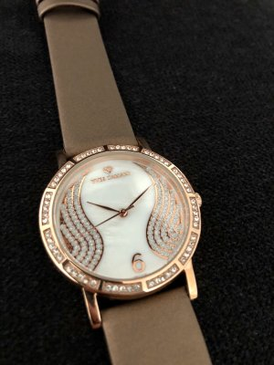 Yves Camani Watch With Leather Strap rose-gold-coloured-light brown leather