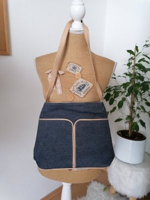 Crossbody bag beige-slate-gray