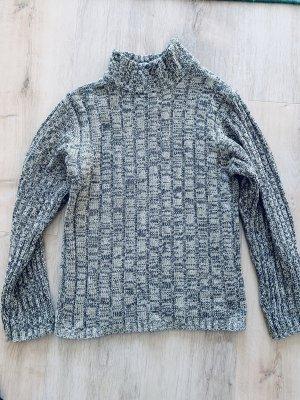 Damen Vintage Retro Pullover Grau/Weiß/Dunkelblau Strickpulli Grobstrick Clockhouse Gr S/36