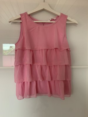 H&M Frill Top neon pink-pink