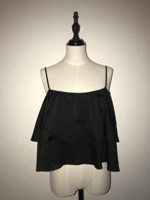 Damen Volanttop Crop Top schwarz H&M Gr.38
