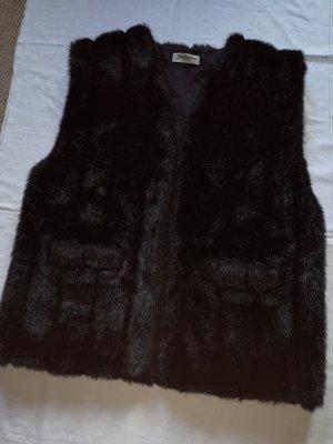 Fur vest black mixture fibre