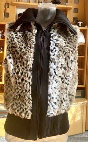 Madonna Fur vest black-oatmeal polyester