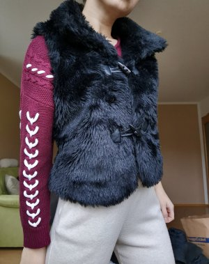 Vintage Vest van imitatiebont zwart