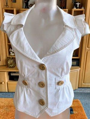 Damen Weste Sommer Jeans Rüschen Gr.36 in Weiß von Tally Weijl NW