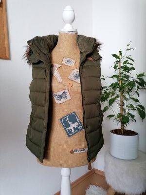 H&M Chaleco con capucha marrón claro-caqui