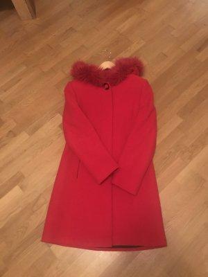 MStyle Cappotto con cappuccio rosso mattone Viscosa
