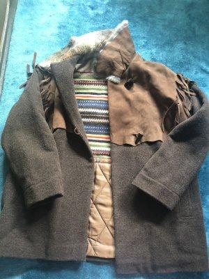 Damen Winterjacke aus Wolle,Leder und Echtfell Kragen Gr. 42/44