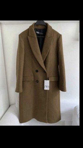 Zara Marynarski płaszcz brązowy