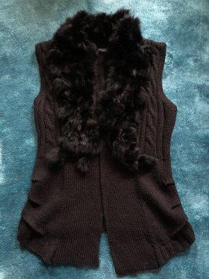 Damen Wollweste mit Fellbesatz Gr. 38