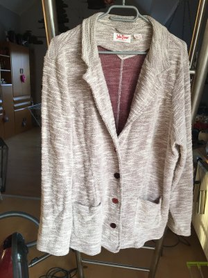 b.p.c. Bonprix Collection Knitted Blazer natural white-bordeaux