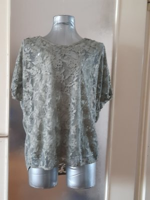 Made in Italy Koronkowa bluzka szaro-zielony