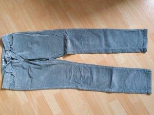 Promod Pantalon en velours côtelé gris clair-bleu azur