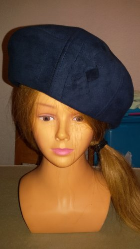 Beret dark blue leather