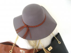 Floppy Hat dark grey-cognac-coloured polyester