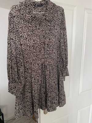 Zara Chiffon jurk wit-zwart