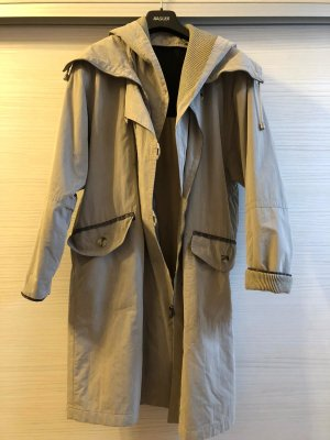 Manteau à capuche beige clair-gris clair tissu mixte