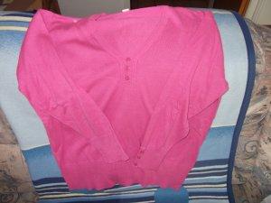 Pull col en V rose tissu mixte