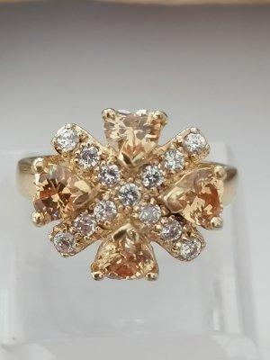 Damenring in 925er Silber vergoldet mit  weissen und champagnerfarbenen Zirkonen.