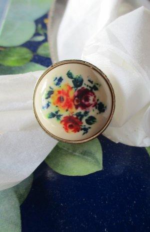 Damenring Ring Bluemnring Damen Rosen bunt Blumen Blüten Vintage M L silber farben